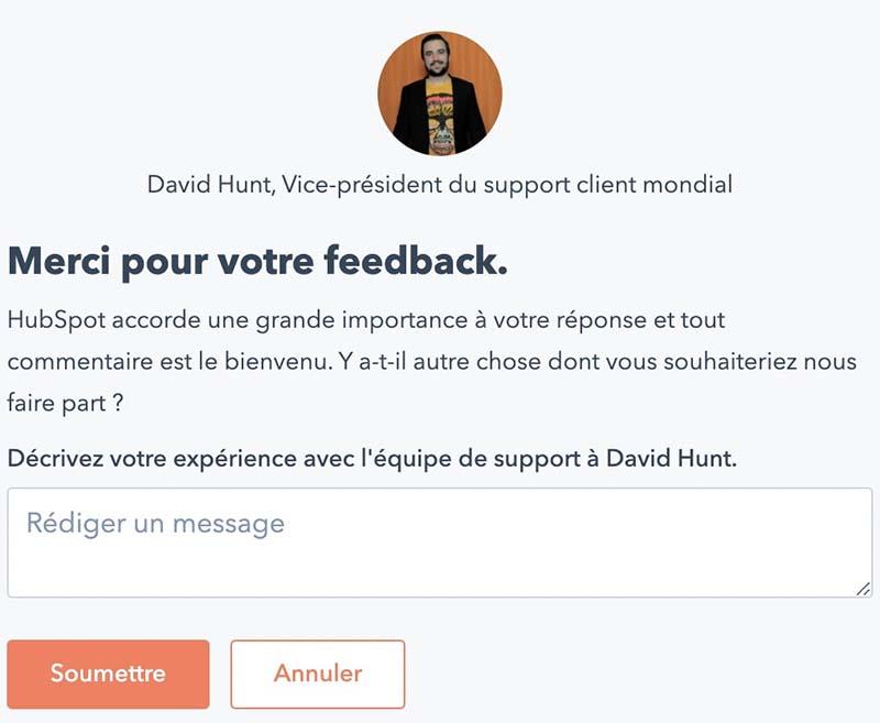 Formulaire satisfaction client Hubspot