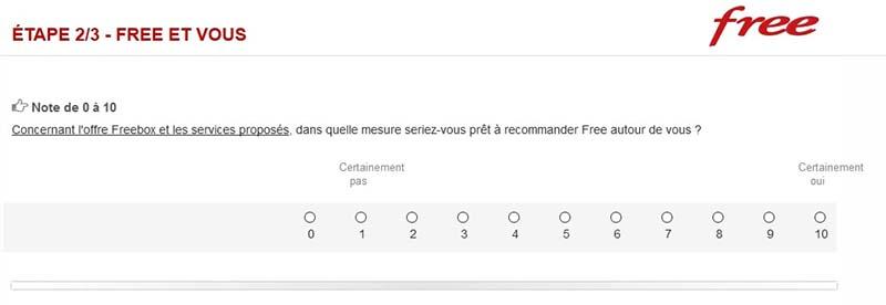 Exemple de questionnaire Net Promoter Score